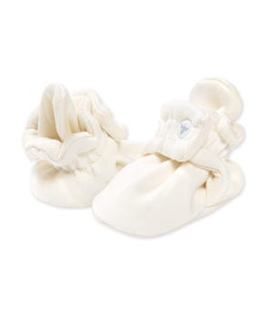 Solid  Adjustable Organic Baby Booties Eggshell 0-3 Months