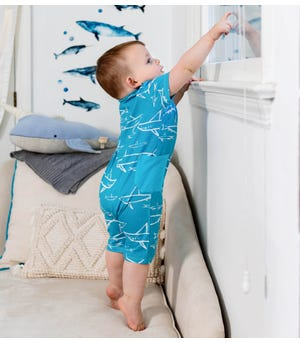 Shiver of Sharks Organic Baby Romper