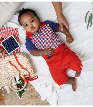 Picnic Plaid Organic Baby Polo Bodysuit & French Terry Short Set