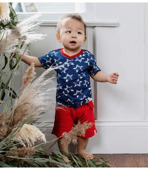 Painted Stars Organic Baby Tee & French Terry Short Set Cherry 0-3 Months