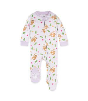 Curious Sloth Organic Baby Zip Front Loose Fit Footed Pajamas