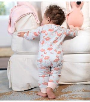Fancy Flamingo Organic Baby Zip Front Snug Fit Footless Pajama