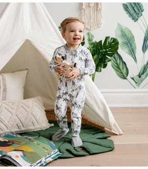 Zebra Herd Organic Baby Zip Front Snug Fit Footed Pajamas