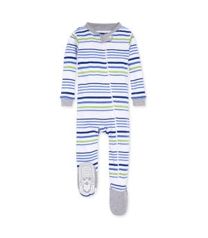 Two Tone Multi Stripe Organic Baby Zip Front Snug Fit Footed Pajamas