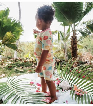 Watercolor Seashells Organic Baby Snug Fit Pajama Short Set