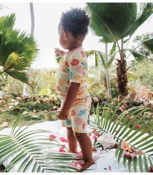 Watercolor Seashells Organic Baby Snug Fit Pajama Short Set