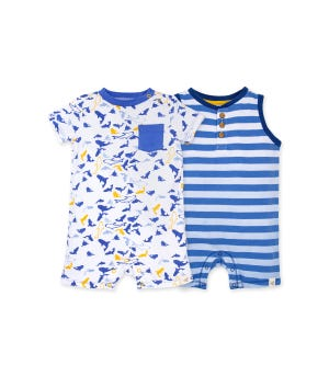 Shark Attack Organic Baby Romper 2 Pack