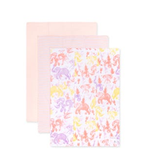 Extra Absorbent Organic Burp Cloths Ello Elephants - 3 Pack Dawn One Size