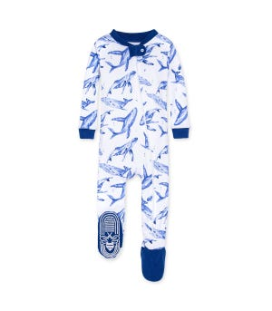 Whale Hello There Organic Baby Zip Front Snug Fit Footed Pajamas