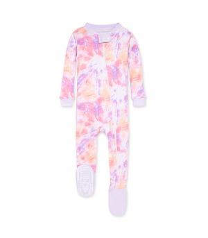 Printed Tie Dye Organic Baby Zip Front Snug Fit Footed Pajamas