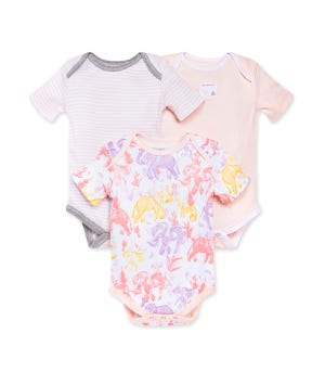 Ello Elephants Organic Baby Bodysuits 3 Pack Dawn 0-3 Months