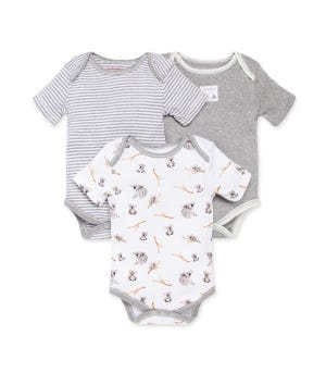 Perfectly Koala-fied Organic Baby Bodysuits 3 Pack Heather Grey 0-3 Months