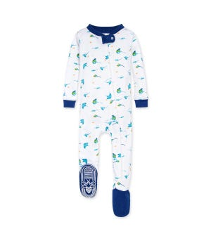 Stingray Organic Baby Zip Front Snug Fit Footed Pajamas