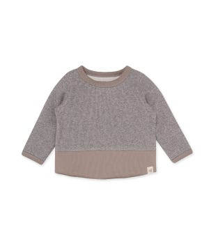Thermal Organic Baby Colorblocked Tee Heather Grey 12 Months