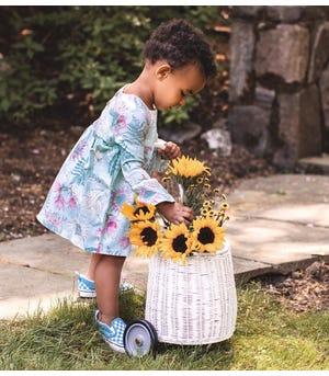 Dinosaur Flowers Organic Baby Dress & Diaper Cover Set