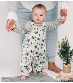 Holiday Pines Organic Baby Bodysuit & French Terry Jumpsuit Set
