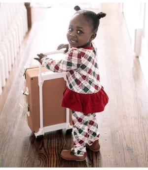 Yuletide Plaid Organic Baby Sister Jumpsuit