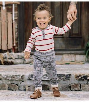 Stripe Organic Baby Henley Bodysuit & Snowflake Flurries Pant Set