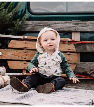 So Poplar Organic Baby Hooded Bodysuit