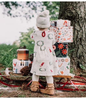 Classic Holiday Organic Baby Dress & Diaper Cover Set