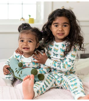 Butterfly Chart Organic Baby Zip Front Snug Fit Footed Pajamas