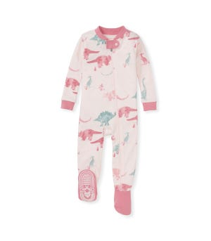Jurassic Territory Organic Baby Zip Front Snug Fit Footed Pajamas