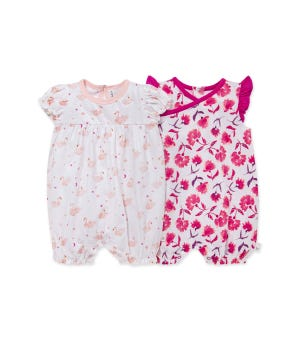 Graceful Swan Organic Baby Bubble Rompers 2 Pack - Dawn - 3 Month