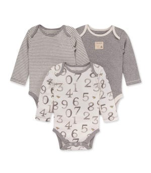 3 Pack One Two Bee Bodysuit Set Heather Grey 0-3 Months