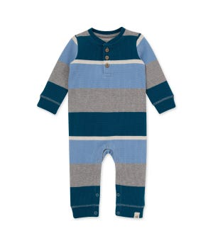 Thermal Rugby Stripe Organic baby Jumpsuit