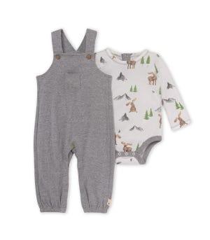Doted Jacquard On the Range Organic Baby Jumpsuit & Bodysuit Set