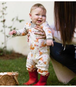 Farm Sounds Organic Baby Zip Front Snug Fit Footed Pajamas