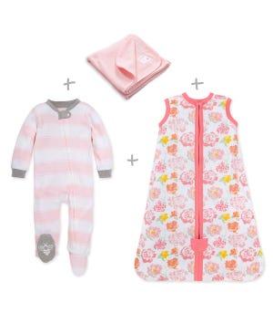 Rose Floral Organic Baby Pajama and Bedding Set