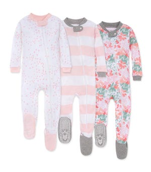 Tossed Succulent Organic Baby Zip Front Snug Fit Footed Pajamas 3 Pack