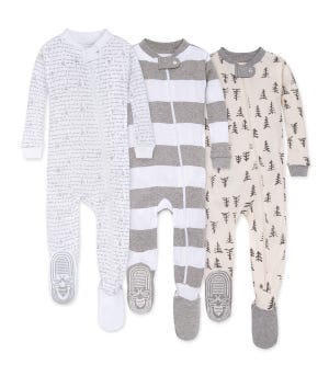 Pine Forest Organic Baby Zip Front Snug Fit Footed Pajamas 3 Pack