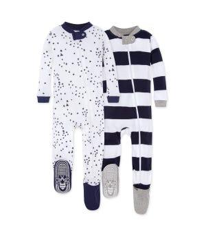 Twinkle Bee Organic Baby Zip Front Snug Fit Footed Pajamas 2 Pack