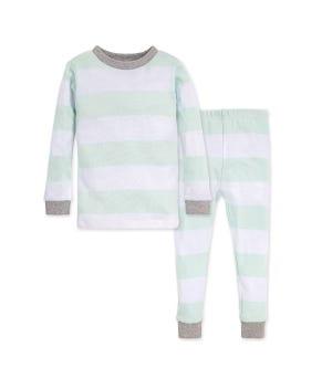 Rugby Stripe Organic Toddler Pajama Set Seaglass 2 Toddler