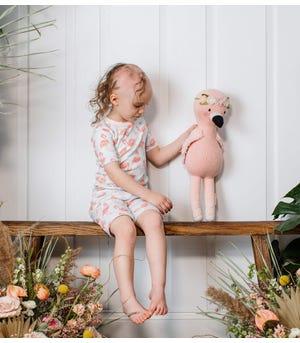 Fancy Flamingo Organic Baby Snug Fit Toddler Pajama Short Set