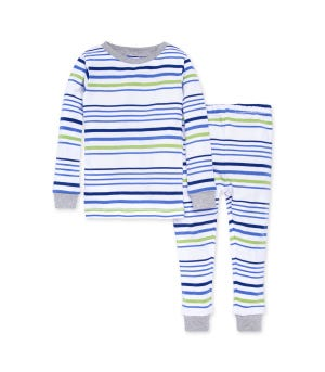 Two Tone Multi-Stripe Snug Fit Organic Toddler Pajamas