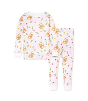 Curious Sloth Snug Fit Organic Toddler Pajamas Eggshell 2 Toddler