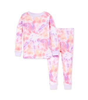 Printed Tie Dye Snug Fit Organic Toddler Pajamas