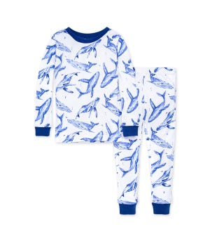 Whale Hello There Snug Fit Organic Toddler Pajamas