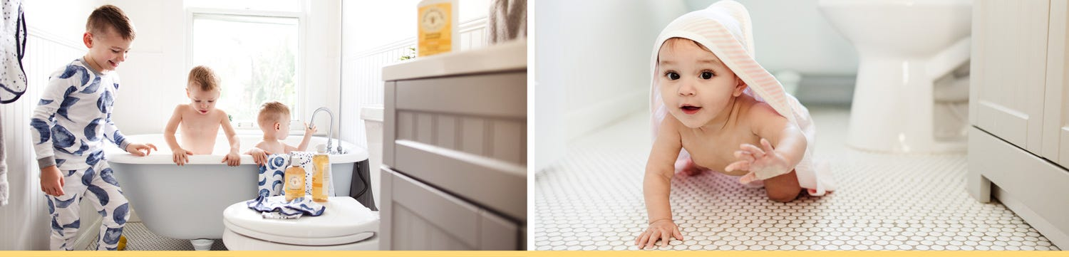 Burt's Bees Baby Bath selection, make bathtime so much fun! baby in the hooded towel makes snuggle time extra warm and cozy