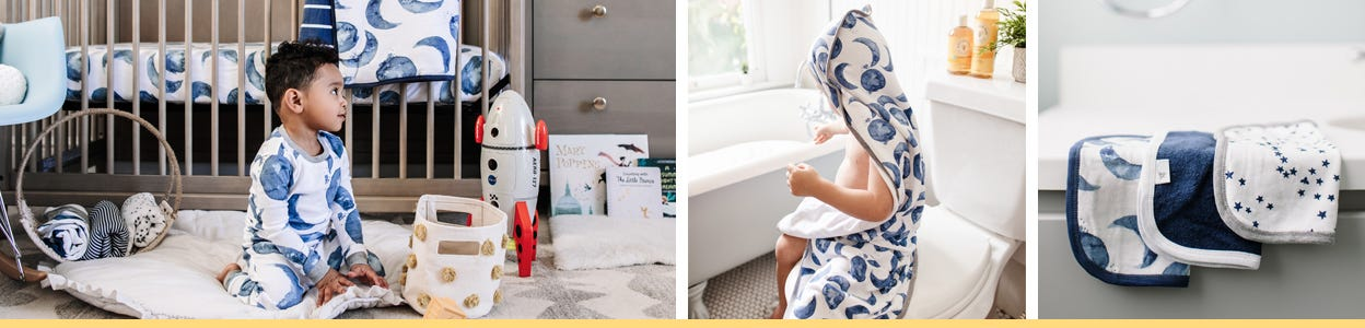 Burt's Bees Baby - Hello moon collection beekeeper, pjs, crib sheets, hooded towels, blankets, washcloths, bibs and burps!
