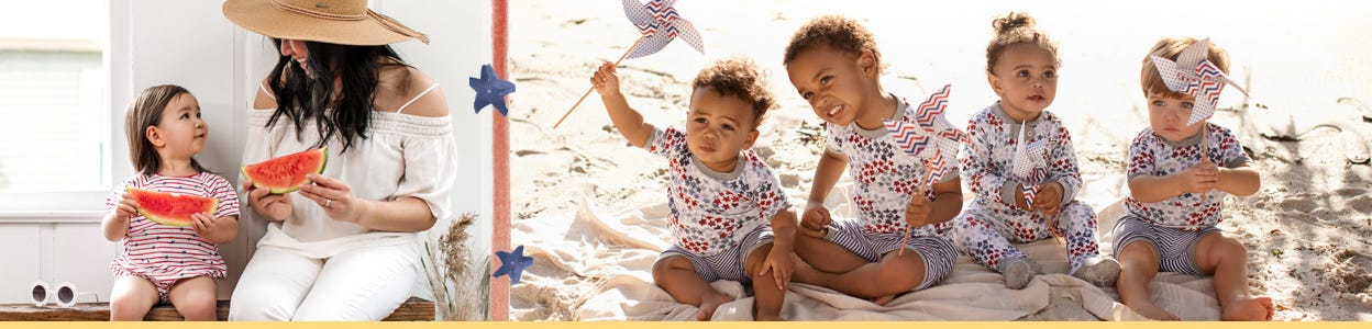 Burt's Bees Baby 4th of July collection - Get ready to celebrate 4th of July in style, red, white, and blue. Nice and cool for the summer months, these apparels are ready to celebrate!